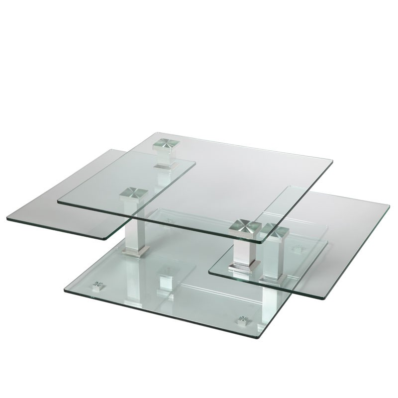 Table basse en verre carr e quadra univers salon for Table basse verre carree