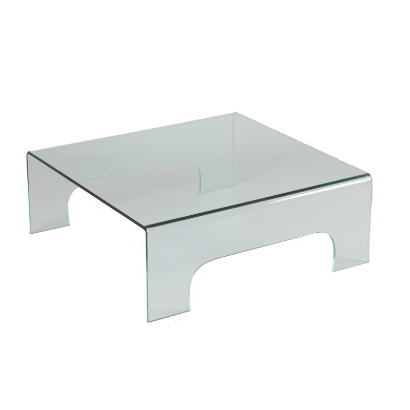 Table basse carr e en verre clean univers salon tousmesmeubles - Table basse verre carree ...
