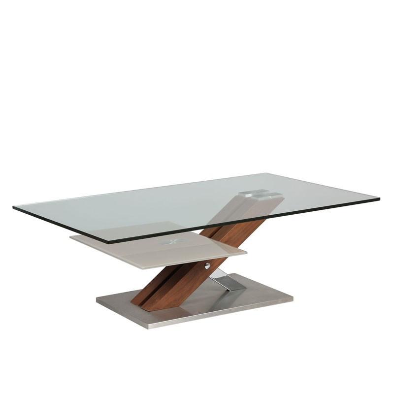 Table basse en verre et bois - RAY