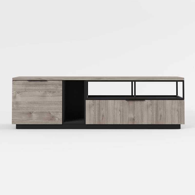 Meuble TV 1 porte 1 tiroir Bois/Noir - LEOKI