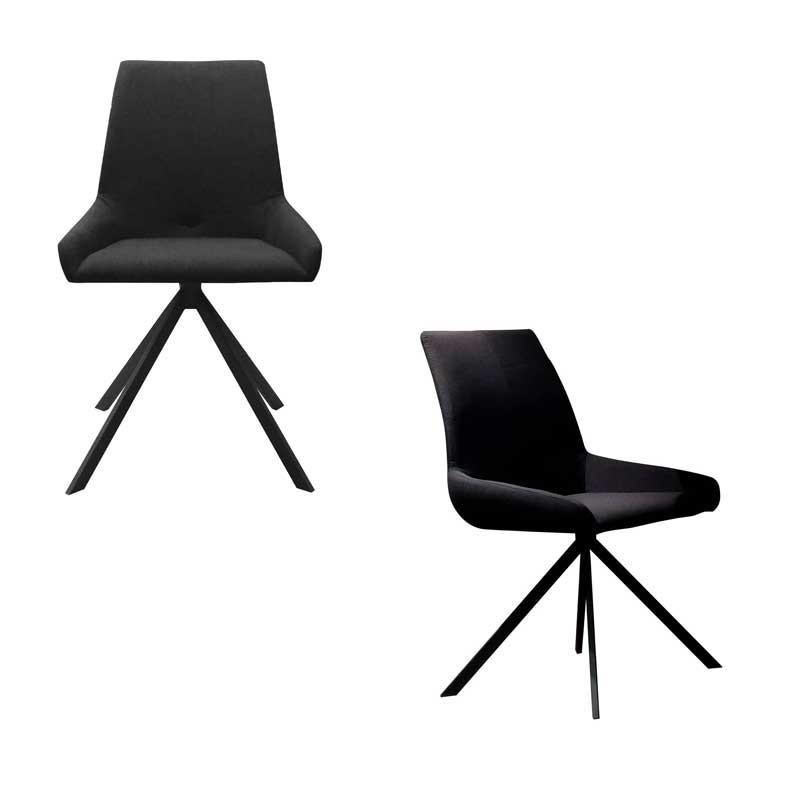 Duo de chaises Tissu/Noir - LEOKI