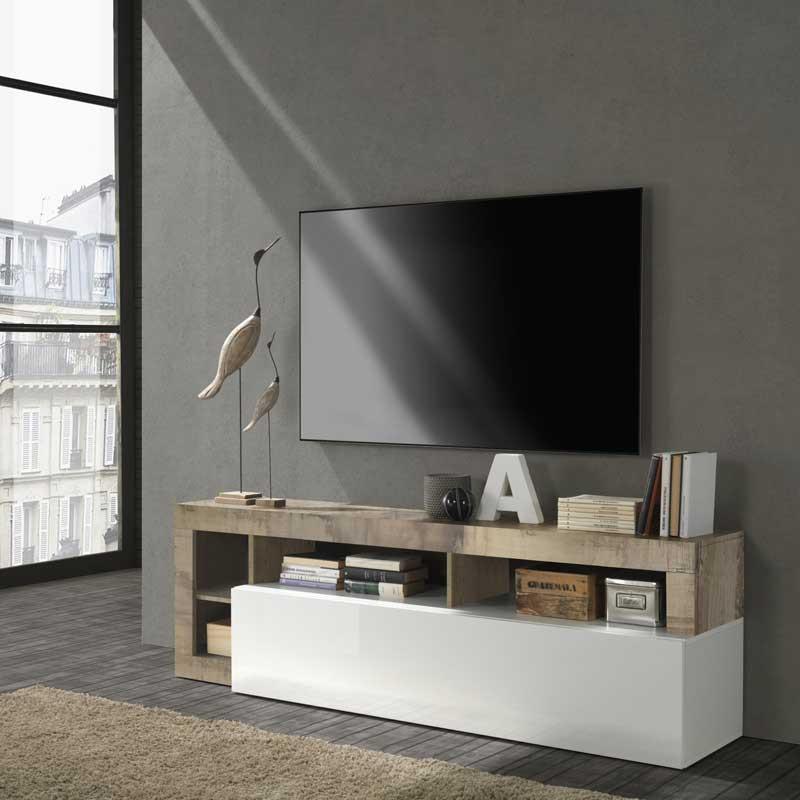 Meuble TV 1 abattant 2 niches Blanc laqué brillant/Bois- ISCHIA