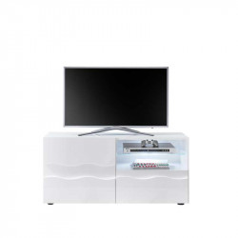 Meuble TV 1 porte 1 tiroir relief blanc laqué brillant - OCEAN