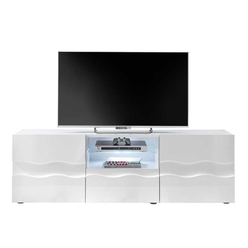 Meuble TV 2 portes 1 tiroir relief blanc laqué brillant - OCEAN
