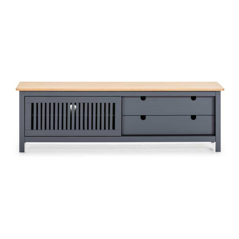 Meuble TV 1 porte coulissante 2 tiroirs Bois/Gris - BRANU