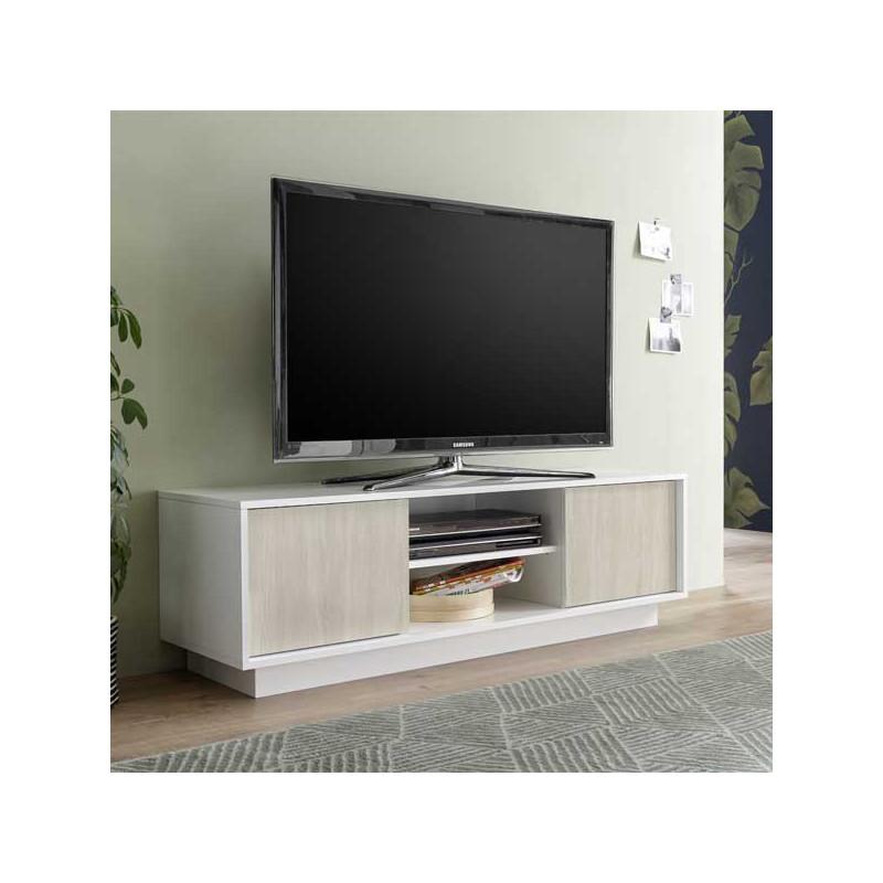 Meuble TV  portes 2 niches Blanc Brillant Chêne Orme - ANA