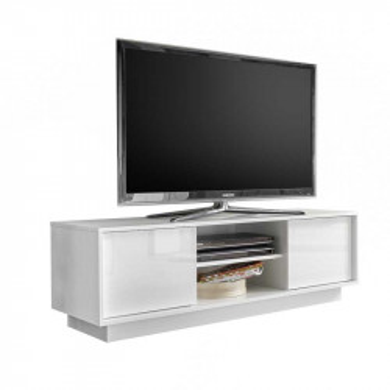 Meuble TV  portes 2 niches Blanc Laqué Brillant - ANA