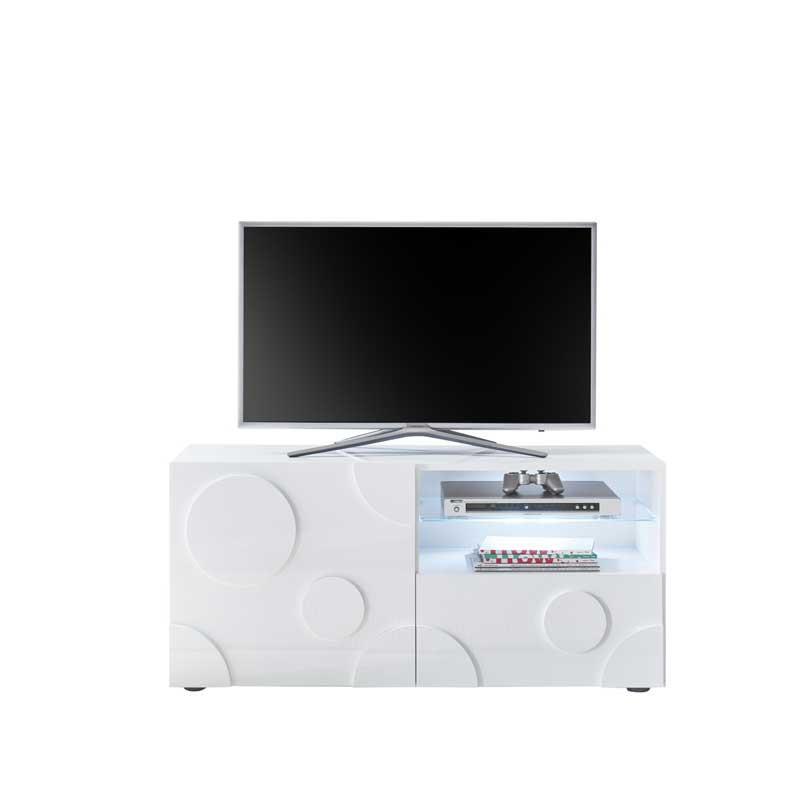 Meuble TV 1 porte 1 tiroir Blanc laqué brillant à leds - PEPPERONI