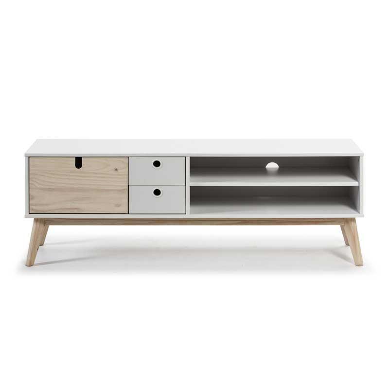 Meuble TV 2 niches 2 tiroirs Blanc/Bois - KALIA