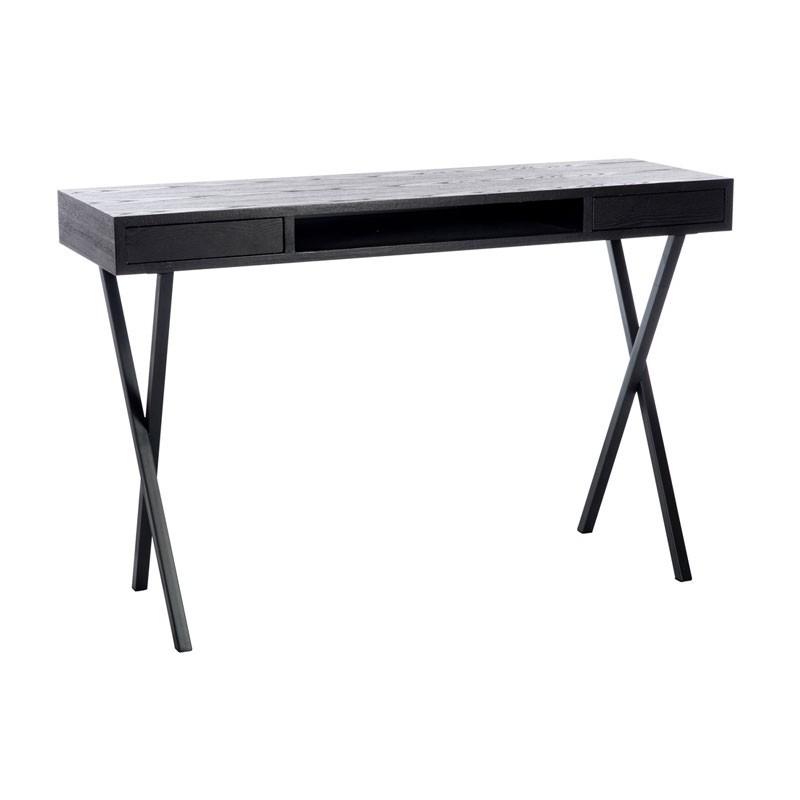 Bureau 2 tiroirs bois Noir