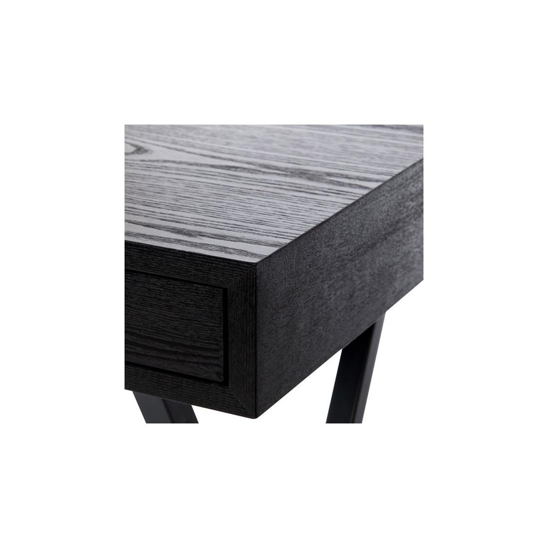 bureau 2 tiroirs bois noir prague univers bureau tousmesmeubles. Black Bedroom Furniture Sets. Home Design Ideas