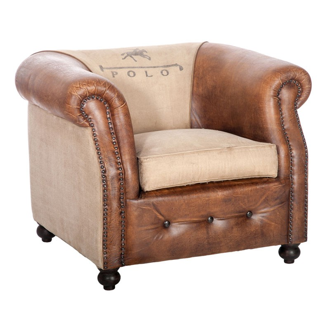fauteuil cuir et coton polo univers du salon tousmesmeubles. Black Bedroom Furniture Sets. Home Design Ideas