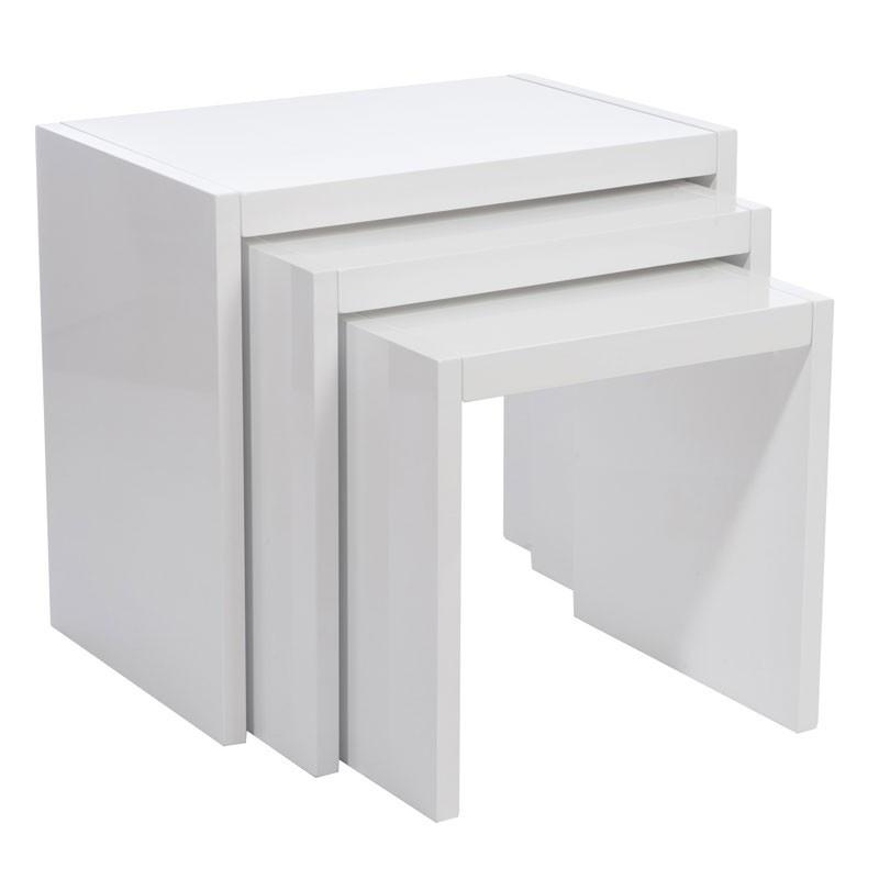 Tables gigognes bois laqué Blanc