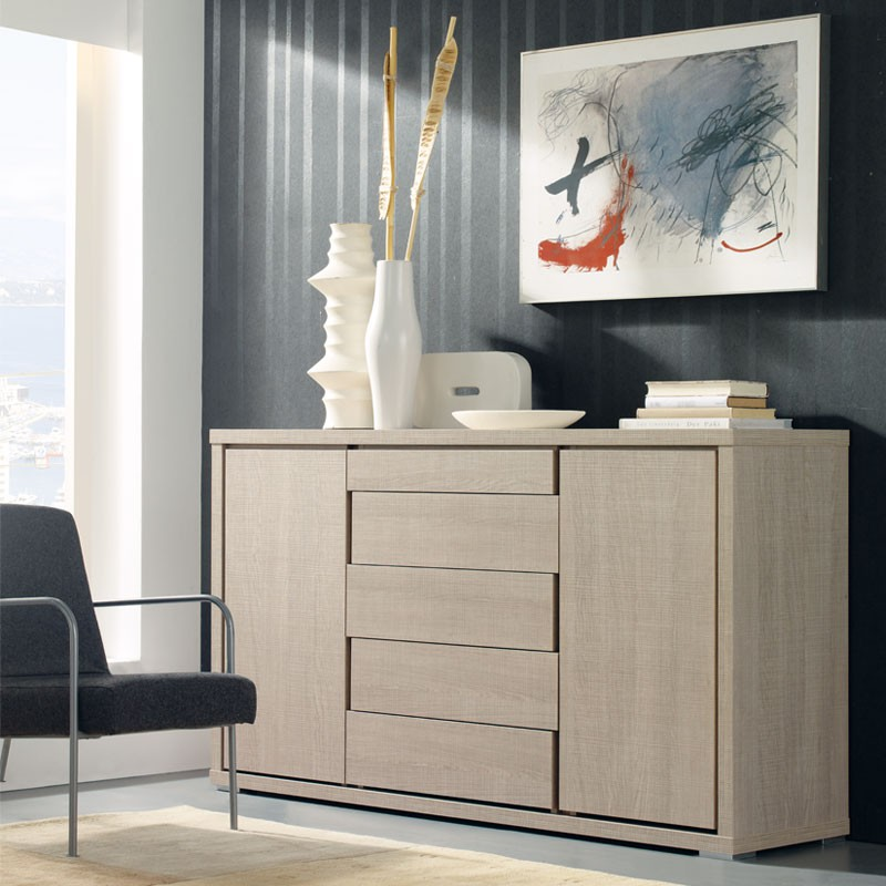 buffet 2 portes 5 tiroirs ch ne clair apra univers salle. Black Bedroom Furniture Sets. Home Design Ideas