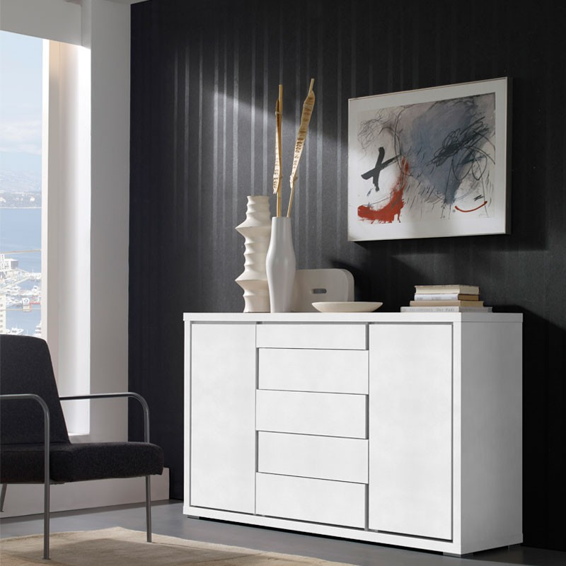 buffet blanc 2 portes 5 tiroirs apra salle manger tousmesmeubles. Black Bedroom Furniture Sets. Home Design Ideas