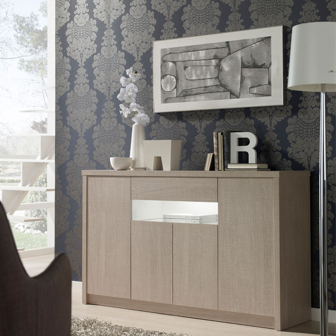buffet 4 portes 1 tiroir ch ne clair botekia salle. Black Bedroom Furniture Sets. Home Design Ideas