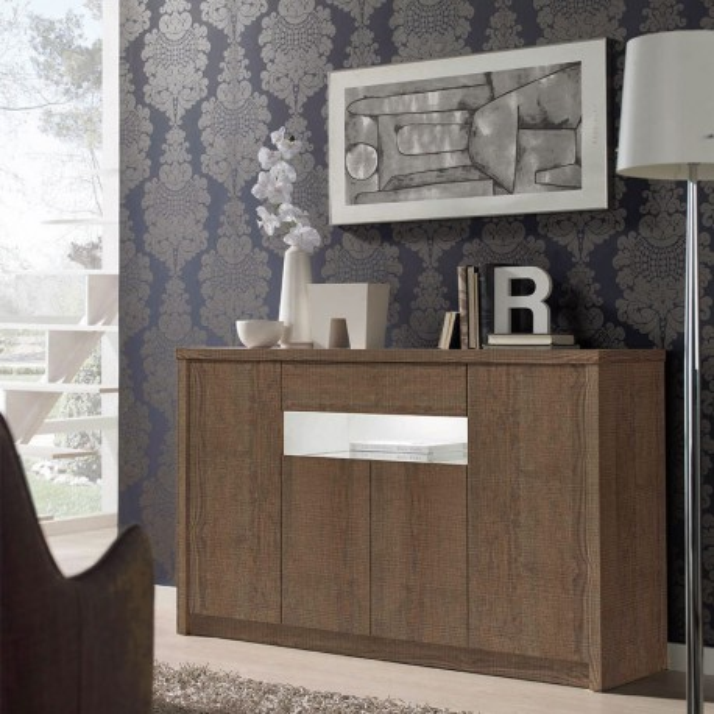 Buffet 4 portes 1 tiroir Chêne foncé - BOTEKIA