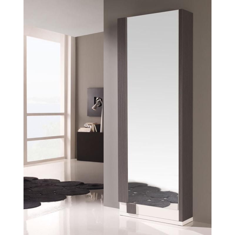 Armoire à chaussures Blanc/Cendre+miroir SYIA - Univers Petits Meubles
