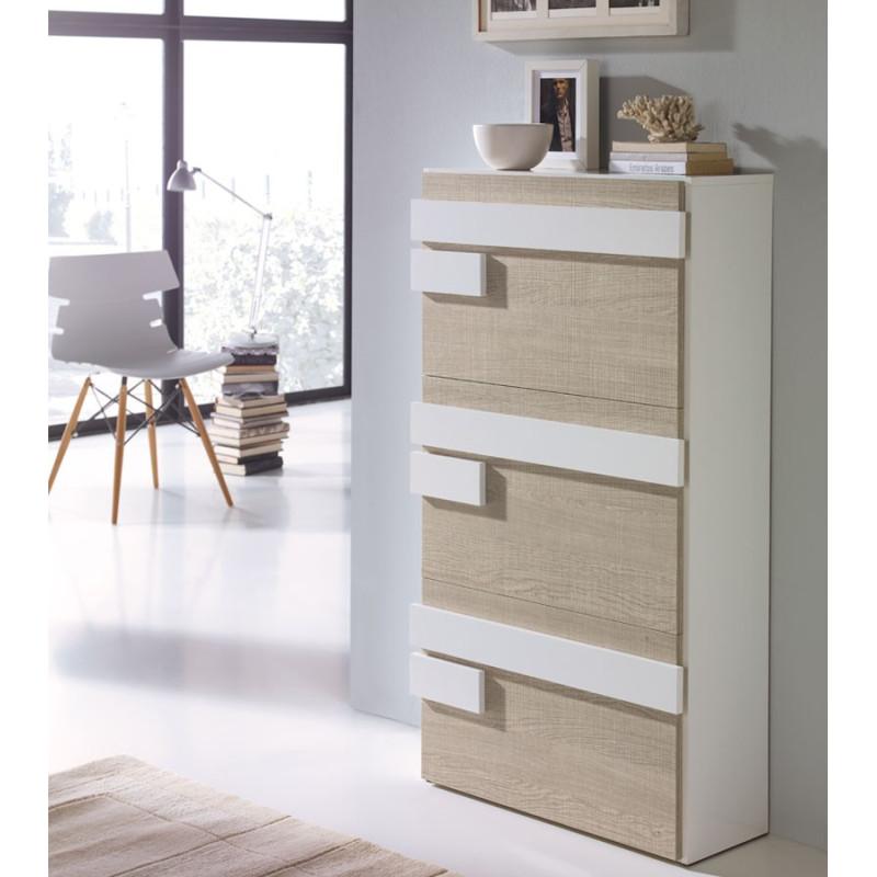 Meuble à chaussures Blanc/Chêne Clair JALIA - Univers Petits meubles: Tousmesmeubles