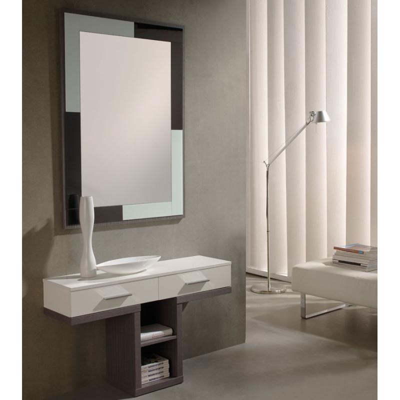 Meuble d'entrée Blanc/Cendre + miroir BRAHA - Univers Petits meubles : Tousmesmeubles
