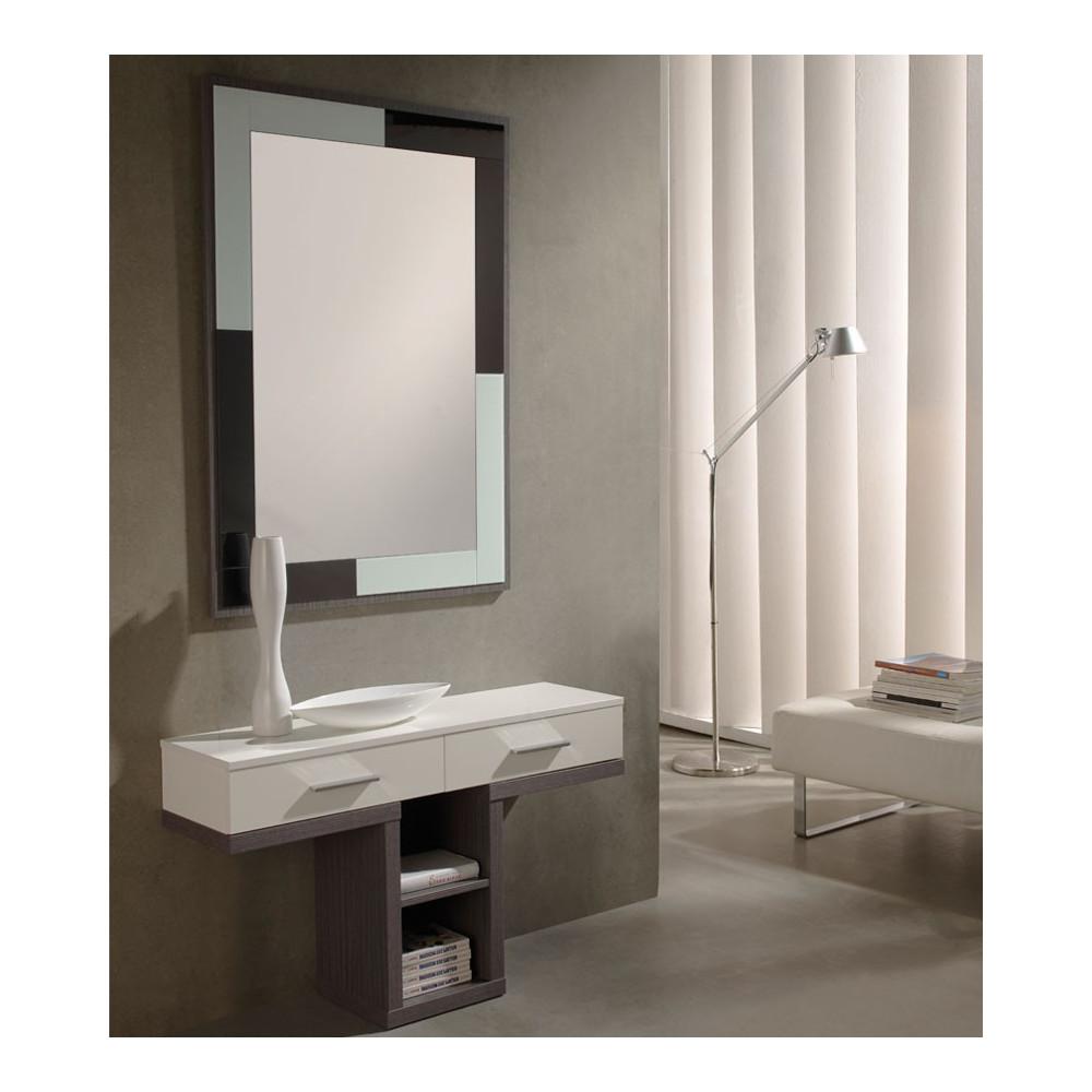 Meuble d'entrée Blanc/Cendre + miroir - BRAHA