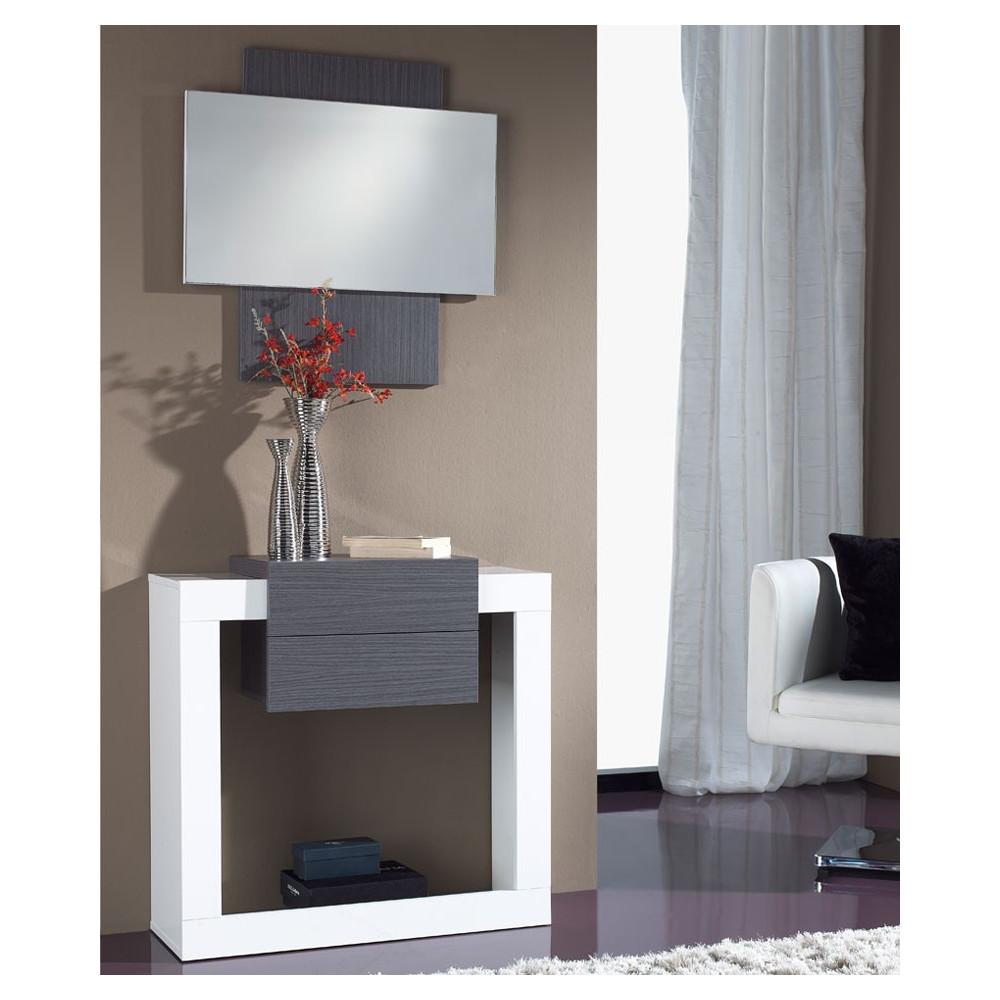 Meuble d'entrée Blanc/Cendre + miroir - NEEMA