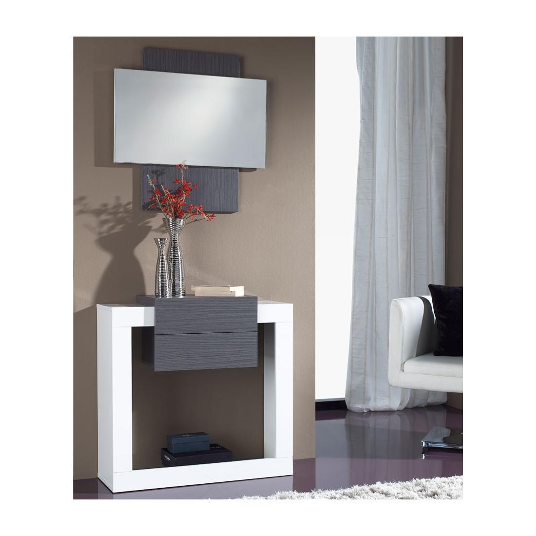 Meuble d 39 entr e blanc cendre miroir neema univers petits meubles - Meuble d entree miroir ...