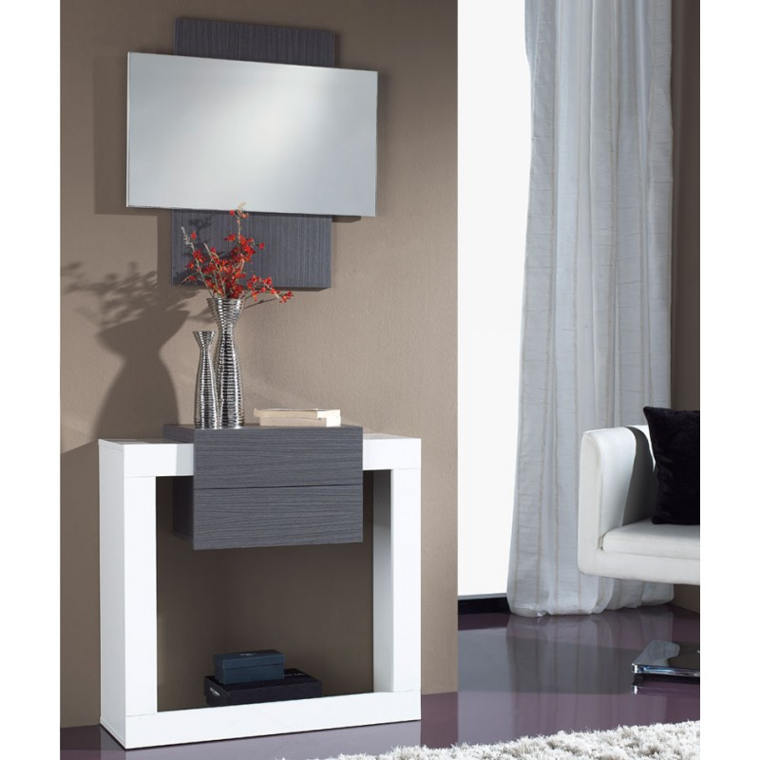 Meuble d 39 entr e blanc cendre miroir neema univers petits meubles - Miroir d entree ...