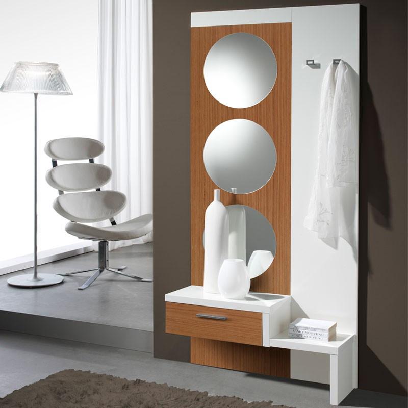 Meuble d'entrée Blanc/Noyer + miroir GOMELLE - Univers Petits Meubles : Tousmesmeubles