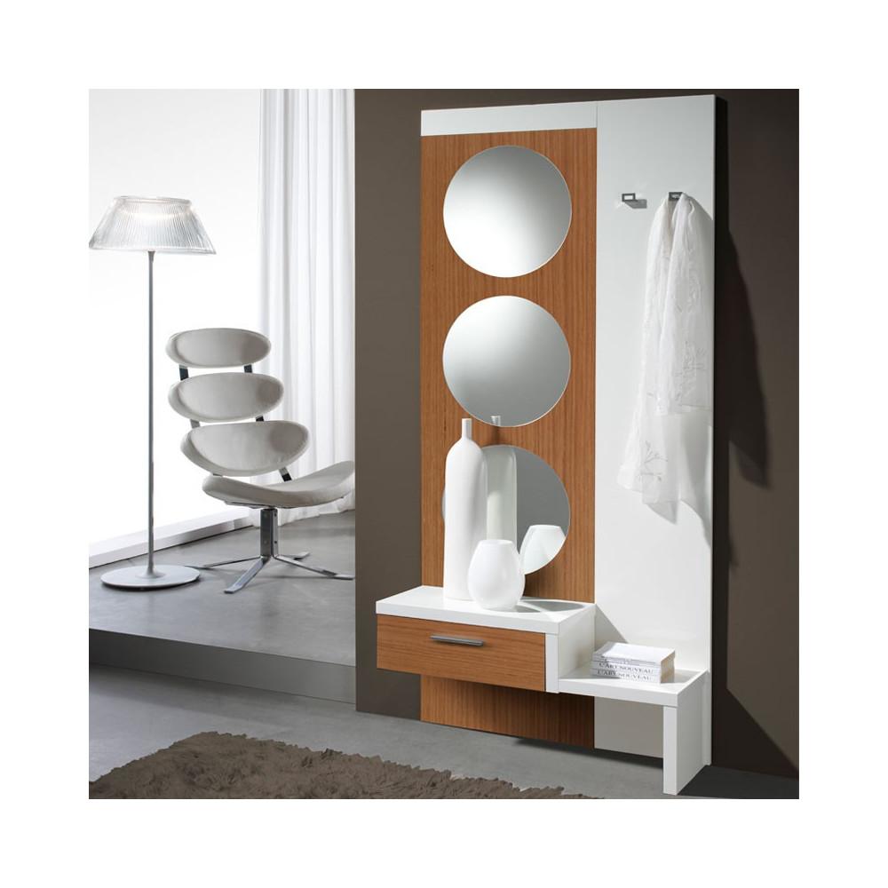 Meuble d'entrée Blanc/Noyer + miroir - GOMELLE