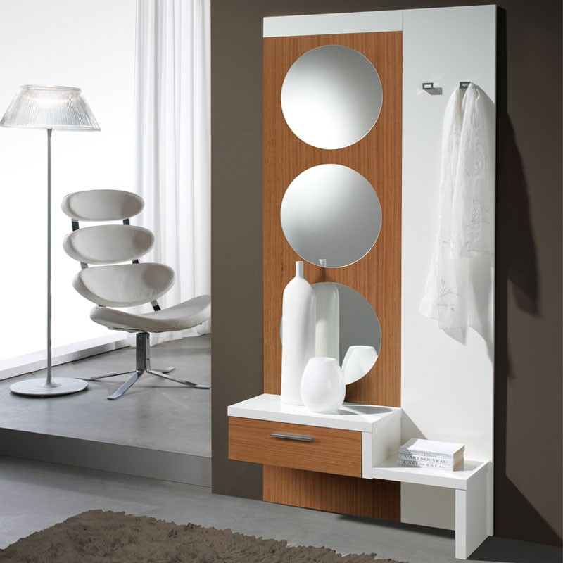 Meuble d 39 entr e blanc noyer miroir gomelle univers for Meuble hall d entree