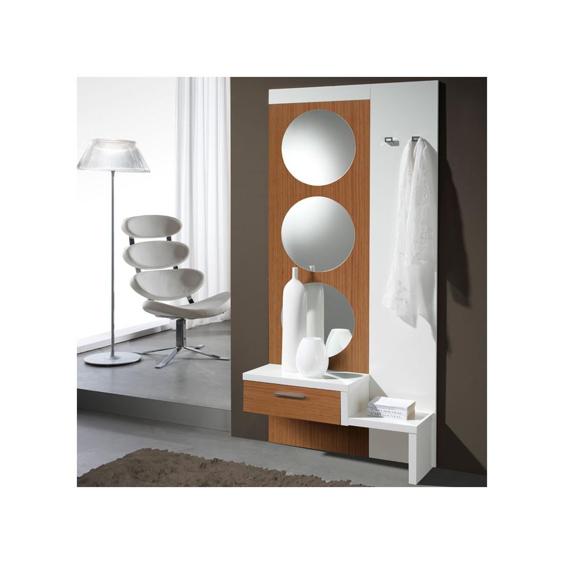 Meuble d 39 entr e blanc noyer miroir gomelle univers petits meubles - Meuble d entree miroir ...