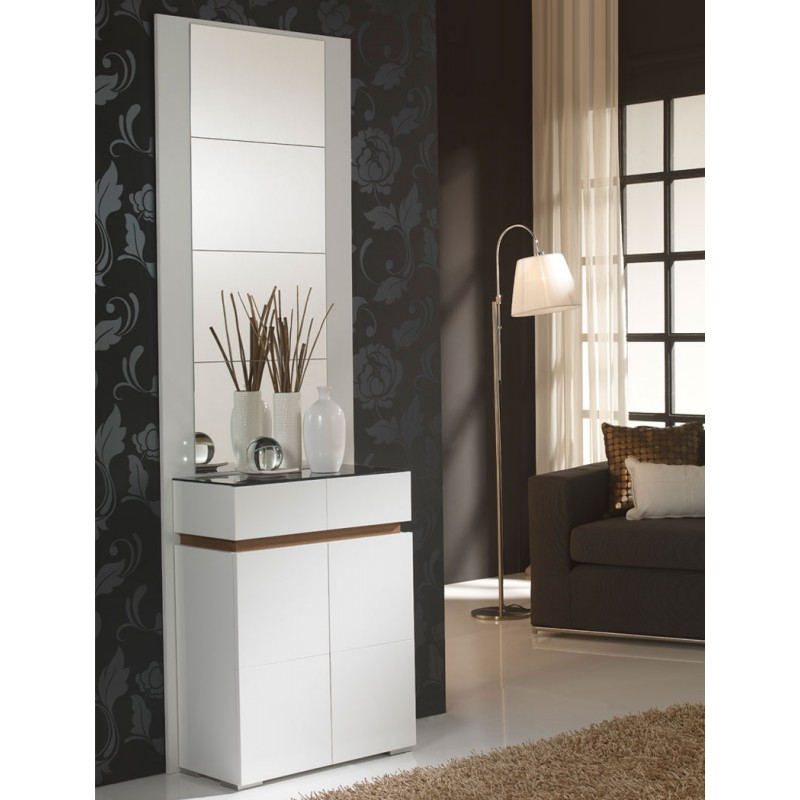 meuble d 39 entr e blanc noyer miroirs eloe univers petits meubles. Black Bedroom Furniture Sets. Home Design Ideas
