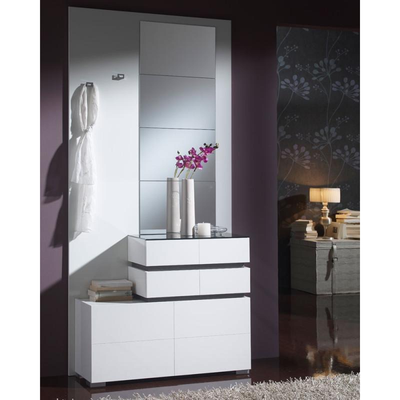 Meuble d'entrée Blanc miroirs VANA - Univers Petits Meubles: Tousmesmeubles