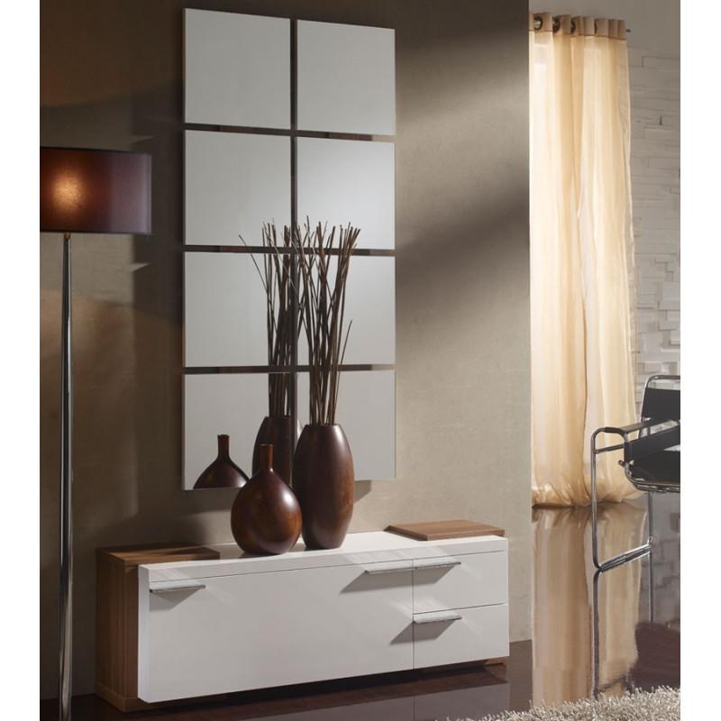 Meuble d'entrée Blanc/Noyer + miroir TALITA - Univers Petits Meubles: Tousmesmeubles