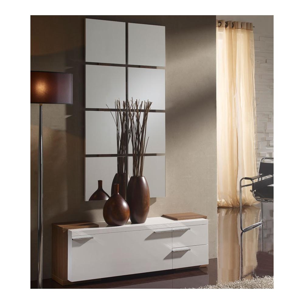 Meuble d'entrée Blanc/Noyer + miroir - TAMARA