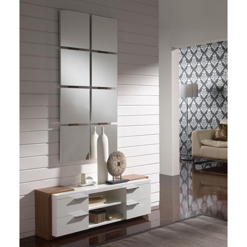 Meuble d'entrée Blanc/Noyer + miroir NAVE - Univers Petits Meubles : Tousmesmeubles