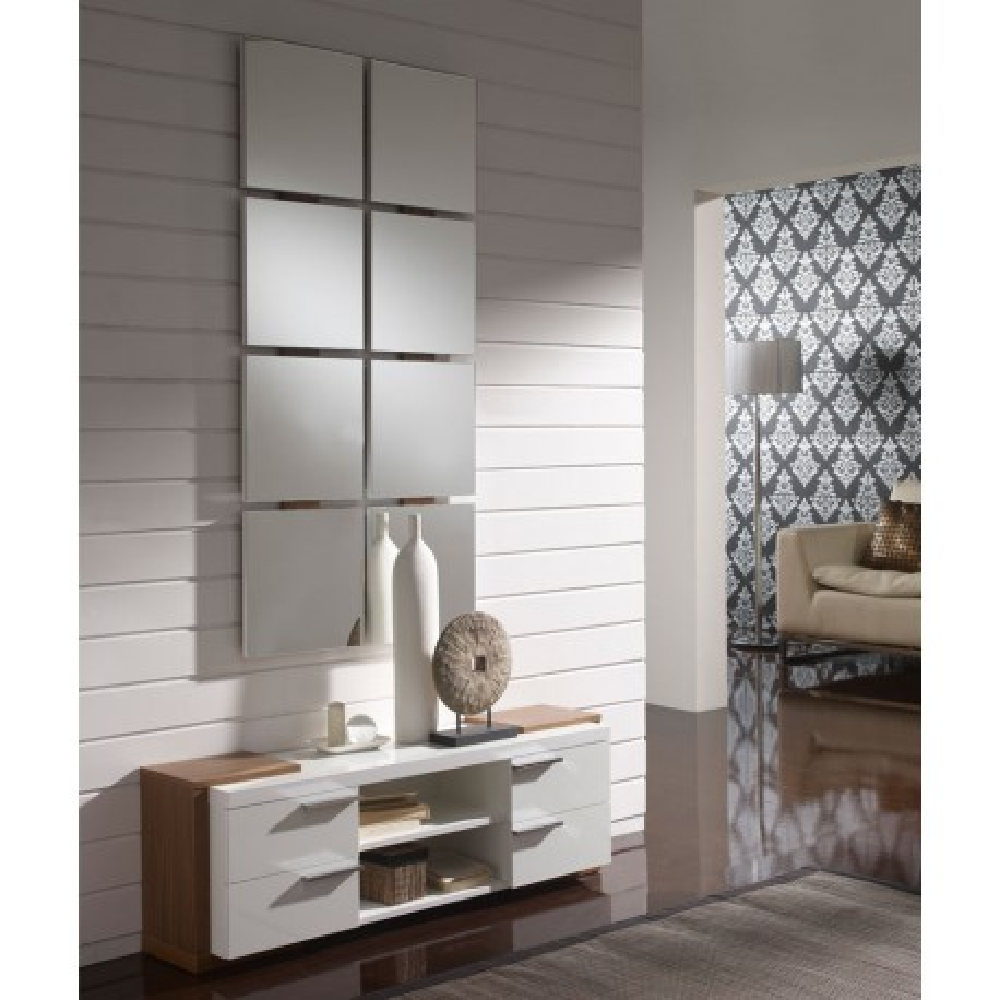 Meuble d'entrée Blanc/Noyer + miroir - NAVE