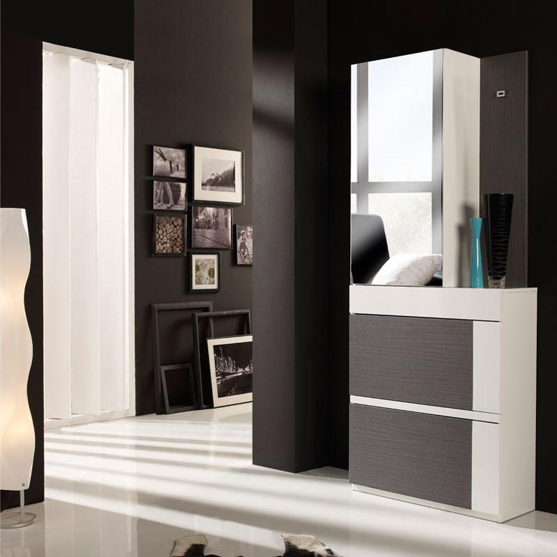 Meuble d'entrée Cendre/Blanc + armoire TALITA - univers Petits Meubles: Tousmesmeubles