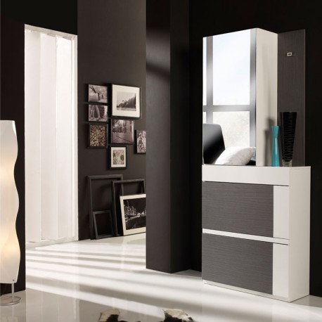 meuble d 39 entr e cendre blanc armoire talita univers petits meubles. Black Bedroom Furniture Sets. Home Design Ideas