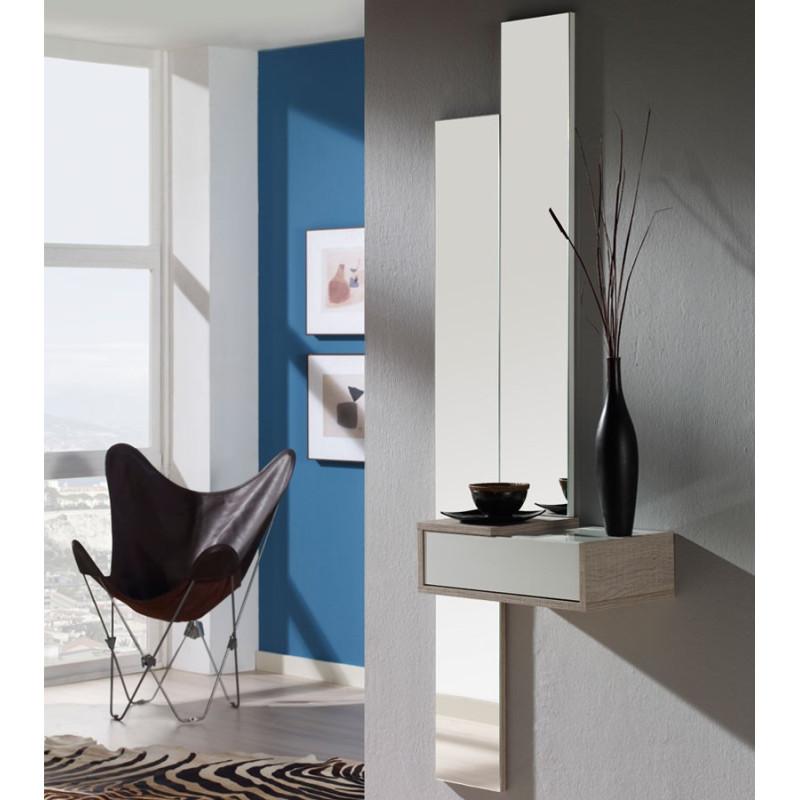 Meuble d'entrée Blanc/Chêne clair + miroir NYLA - Univers Petits meubles: Tousmesmeubles