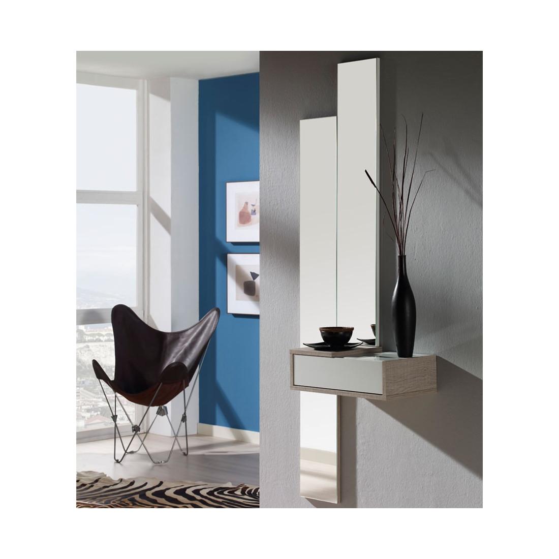 meuble d 39 entr e blanc ch ne clair miroir nyla univers petits meubles. Black Bedroom Furniture Sets. Home Design Ideas