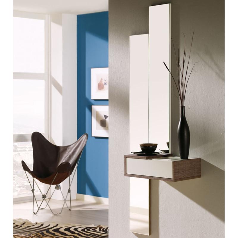 Meuble d'entrée Blanc/Chêne foncé+miroir NYLA - Univers Petits Meubles: TOusmesmeubles