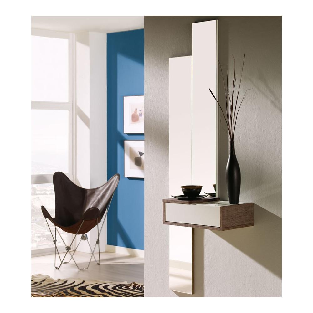 Meuble d'entrée Blanc/Chêne foncé + miroir - NYLA