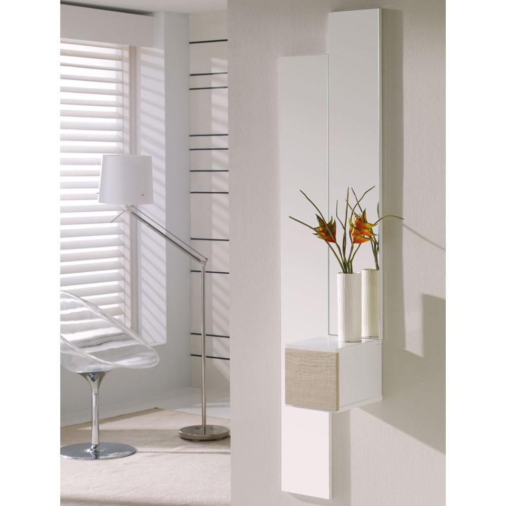 Meuble d'entrée Blanc/Chêne clair + miroir SIRRA -  Petits Meubles: Tousmesmeubles