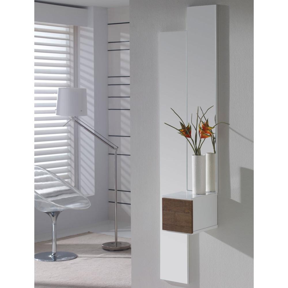 Meuble d'entrée Blanc/Chêne foncé + miroir - SIRRA