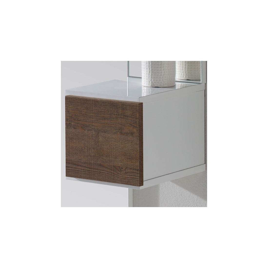 meuble d 39 entr e blanc ch ne fonc miroir sirra petits meubles. Black Bedroom Furniture Sets. Home Design Ideas