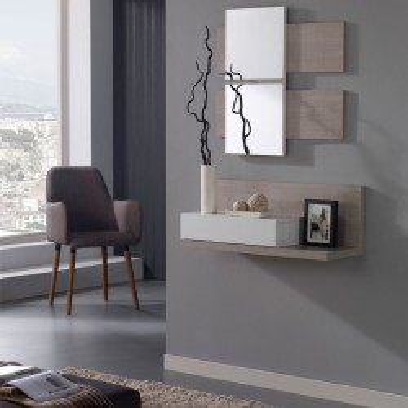 Meuble d'entrée Blanc/chêne clair + miroir LISIA - Petits Meubles: Tousmesmeubles