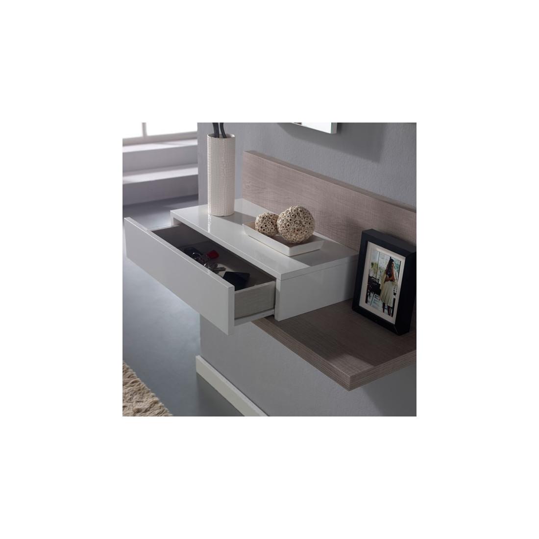 Meuble d 39 entr e blanc ch ne clair miroir lisia petits meubles - Meuble entree suspendu ...
