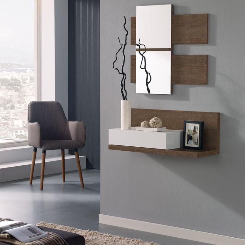 Meuble d'entrée Blanc/Chêne foncé + miroir LISIA - Petits meubles: Tousmesmeubles